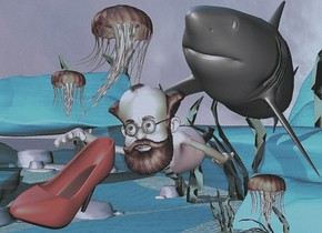 The man is  48 feet above the ground.  The man is leaning to the right.  The very big gray shark is behind the man.  The shark is leaning to the left..   the blue light is 100 feet above the ground.  The first huge jellyfish is 51 feet above the ground and 10 feet to the right.  The third very huge jellyfish is 51 feet above the ground and 14 feet to the right.  The second  huge jellyfish is under the shark.  the big red shoe is in front of the man.  the red shoe is leaning left.