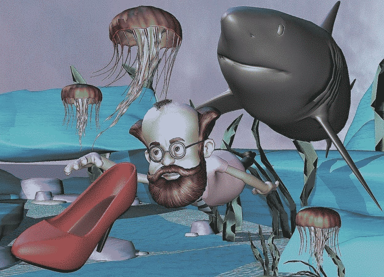 Input text: The man is  48 feet above the ground.  The man is leaning to the right.  The very big gray shark is behind the man.  The shark is leaning to the left..   the blue light is 100 feet above the ground.  The first huge jellyfish is 51 feet above the ground and 10 feet to the right.  The third very huge jellyfish is 51 feet above the ground and 14 feet to the right.  The second  huge jellyfish is under the shark.  the big red shoe is in front of the man.  the red shoe is leaning left.