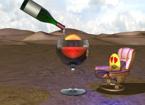 the emoji is on the chair.  the very huge wine glass is a foot left of the chair.   the second emoji is  18 inches in the glass.  a red light is in front of it.  a blue light is a foot above the chair.   the very large wine bottle is 6 inches above the glass. it is leaning 120 degrees to the left. it is -12 inches left of the glass.    the chair is facing the glass.  a 20 inch tall clear cylinder is -5 inches right of the bottle. it is 2 inches wide. it is -6 inches below the bottle.