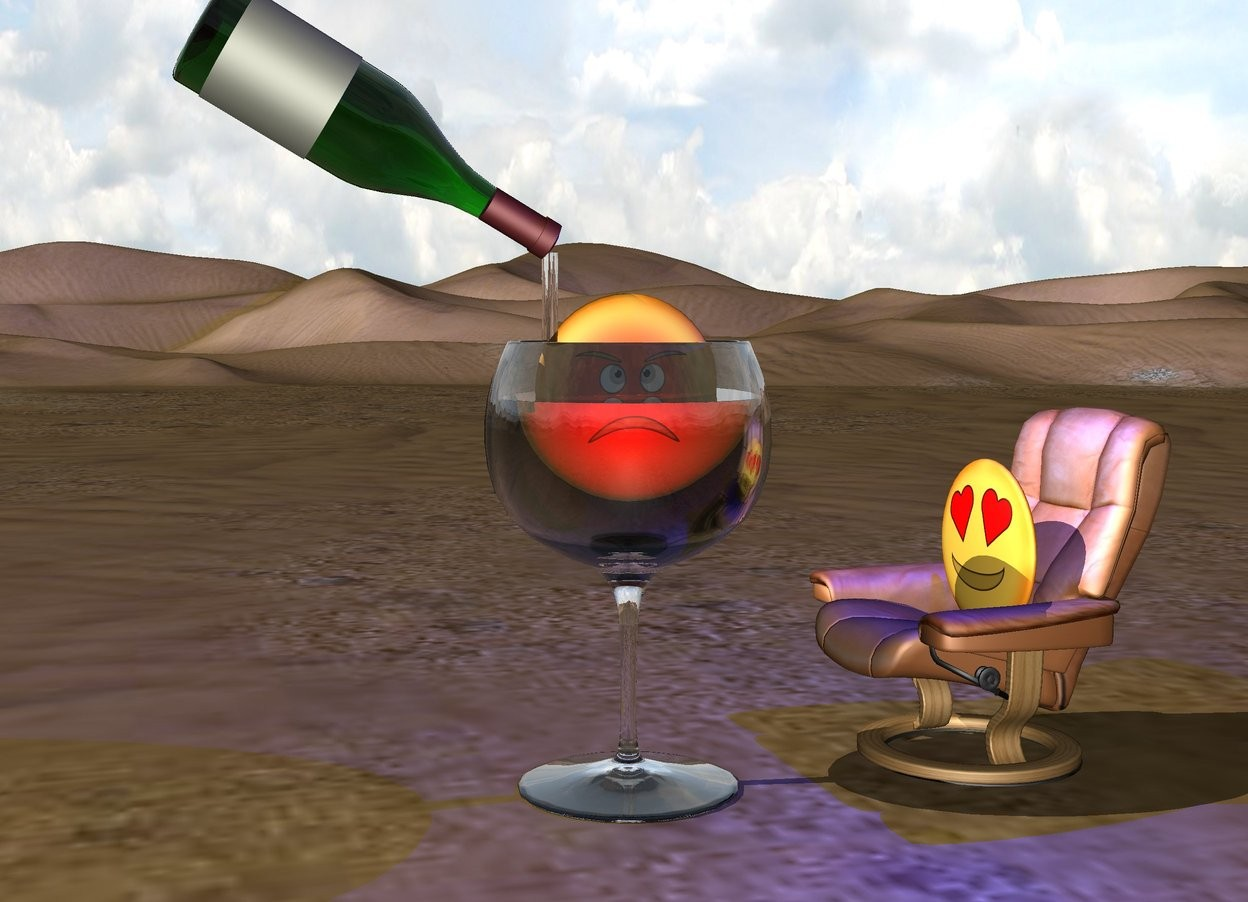 Input text: the emoji is on the chair.  the very huge wine glass is a foot left of the chair.   the second emoji is  18 inches in the glass.  a red light is in front of it.  a blue light is a foot above the chair.   the very large wine bottle is 6 inches above the glass. it is leaning 120 degrees to the left. it is -12 inches left of the glass.    the chair is facing the glass.  a 20 inch tall clear cylinder is -5 inches right of the bottle. it is 2 inches wide. it is -6 inches below the bottle.