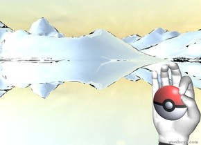 the [pokeball] emoji is in front of the enormous hand.the emoji is 50 centimeters above the ground. the ground is silver.the emoji is -15 centimeters in front of the hand.
