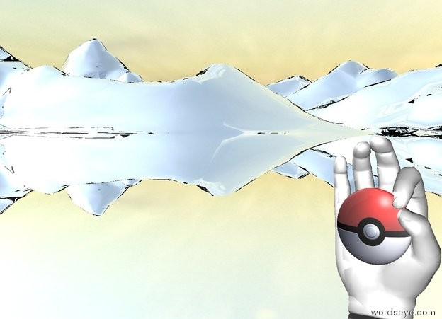 Input text: the [pokeball] emoji is in front of the enormous hand.the emoji is 50 centimeters above the ground. the ground is silver.the emoji is -15 centimeters in front of the hand.