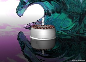 the cake is white. there is a statue in the cake. the statue is white. the statue is 4 inches tall. the wave is behind the cake. the wave is transparent. the wave is turquoise. the sky is purple and cloudy. the ground is transparent.
