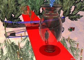 the ground is silver. it is noon.  the big transparent vase is on the ground.  the tiny man is on the ground. the man is behind the vase.  the big jellyfish is inside the vase. the jellyfish is moonlight blue.  the first giant asparagus is 1.5 feet behind the man. the first asparagus is 0.5 feet to the left of the man. the second giant asparagus is 3 feet behind the man. the second giant asparagus is tweed green. the third giant asparagus is 1.5 feet behind the man. the third asparagus is 0.5 feet to the right of the man.  the first candle is 2 feet behind the man. the first candle is 2 feet to the left of the man. the twelfth candle is 2 feet behind the man. the twelfth candle is 2 feet to the right of the man.  the second candle is 0.1 feet behind the man. the second candle is 2.35 feet to the left of the man. the eleventh candle is 0.1 feet behind the man. the eleventh candle is 2.35 feet to the right of the man.  the third candle is 1 foot in front of the man. the third candle is 2.5 feet to the left of the man. the tenth candle is 1 foot in front of the man. the tenth candle is 2.5 feet to the right of the man.  the fourth candle is 2 feet in front of the man. the fourth candle is 2.25 feet to the left of the man. the ninth candle is 2 feet in front of the man. the ninth candle is 2.25 feet to the right of the man.  the fifth candle is 3 feet in front of the man. the fifth candle is 1.5 feet to the left of the man. the eighth candle is 3 feet in front of the man. the eighth candle is 1.5 feet to the right of the man.  the sixth candle is 3 feet behind the man. the sixth candle is 1.5 feet to the left of the man. the seventh candle is 3 feet behind the man. the seventh candle is 1.5 feet to the right of the man.  the transparent canoe is 4 feet behind the man. the canoe is facing the left. the canoe is leaning 12 degrees to the right.  the enormous carpet is under the second asparagus. the carpet is 10 feet long. the carpet is 3 feet wide. the carpet is red.  th