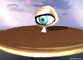 It is day. The enormous pancake is 100 meters above ground. The ground is invisible. The enormous eyeball is 0.1 meters above the pancake. The eyeball is facing left. The small turquoise sandstone pyramid is on the pancake facing left.