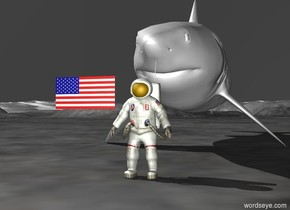 there is a small astronaut. there is a small flag beside the astronaut. the flag is two feet off the ground. there is a huge shark behind the astronaut. the shark is on the ground. the sky is black.