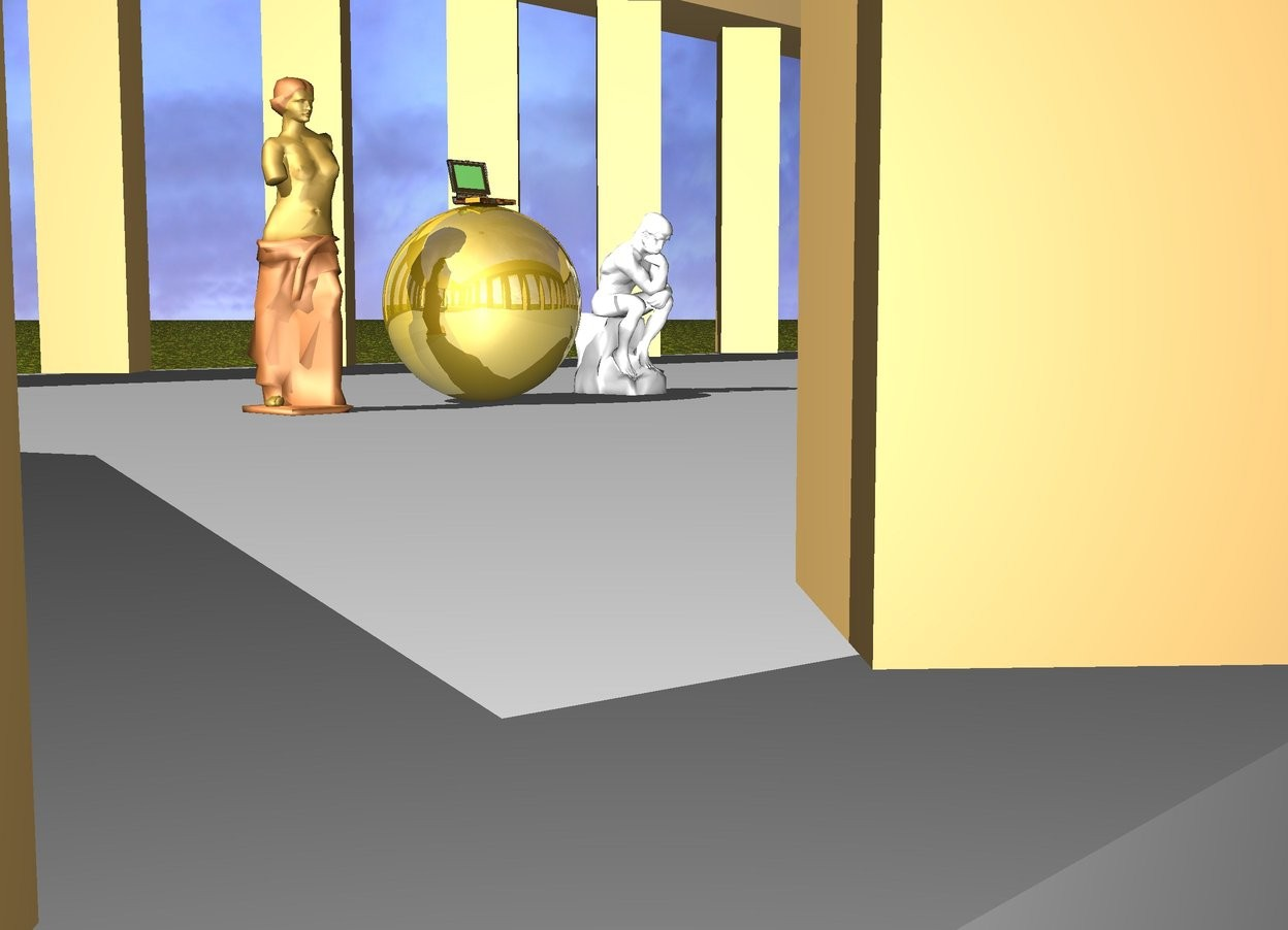 Input text: There is a clear computer on a huge gold sphere.  The sphere is inside a greek temple. There is a statue 50 centimeters on the left of the sphere.There is a statue 50 centimeters on the right of the sphere.ground is [texture]. the light is dim.