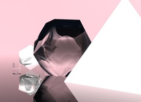 The big transparent dodecahedron is on the transparent ground. The chrome icosahedron is 1 foot in front of the dodecahedron. The small transparent cube is 1 foot in front of the icosahedron. The sky is pink. A huge chrome pyramid is behind the dodecahedron.