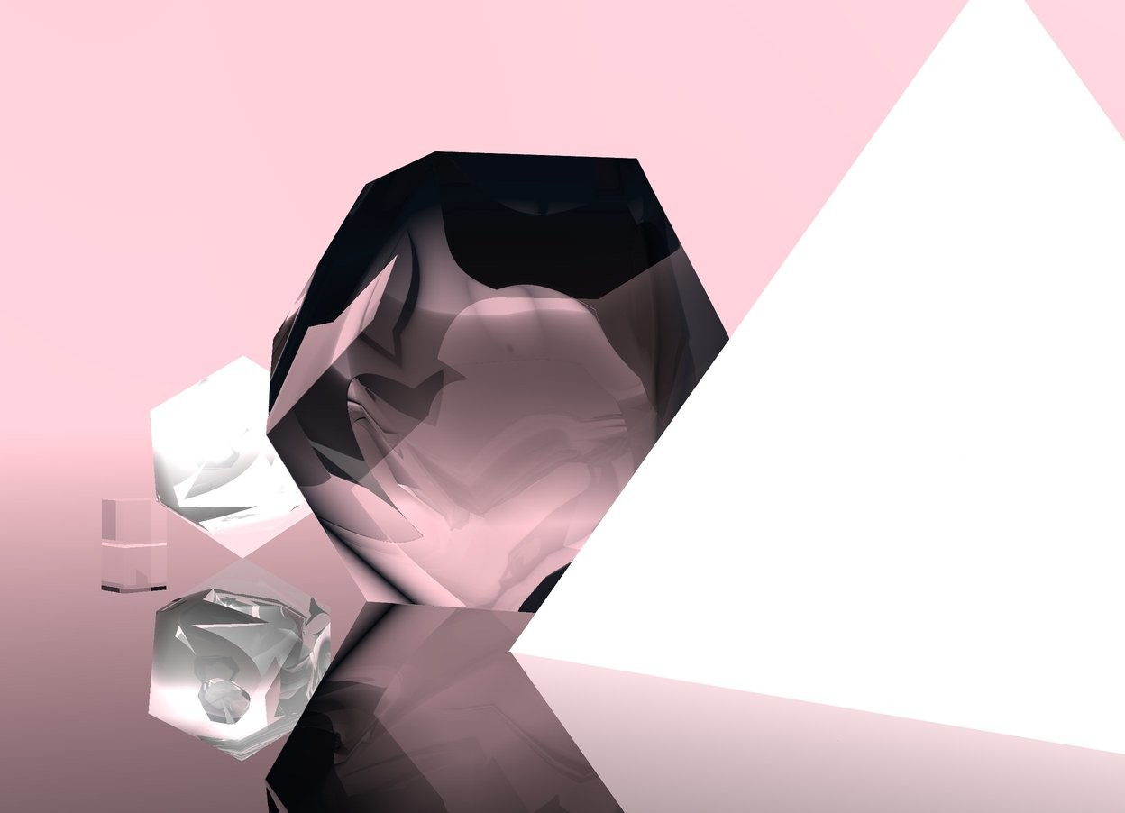 Input text: The big transparent dodecahedron is on the transparent ground. The chrome icosahedron is 1 foot in front of the dodecahedron. The small transparent cube is 1 foot in front of the icosahedron. The sky is pink. A huge chrome pyramid is behind the dodecahedron.
