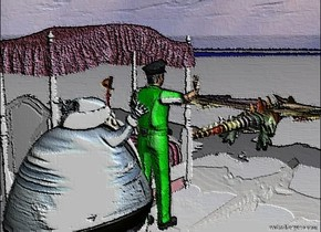 The english sword is on the british bed. The nigerian man is next to the british bed. The [Sweden] man is behind the nigerian man. The rainbow dragon is in front of the british bed. The gigantic [walrus] shield is left of the rainbow dragon. The ground is israeli.
