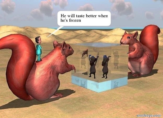 Input text: a translucent cube.the sun's altitude is 90 degrees.the cube is 10 feet tall.a man is 8 feet in the cube.a 15 feet tall squirrel is 3 feet behind the cube.a second 13 feet tall squirrel is 3 feet in front of the cube.the second squirrel is facing the cube.a boy is 5.5 feet in the squirrel.the boy is facing the cube.the ground is grass.a blue light is above the man.