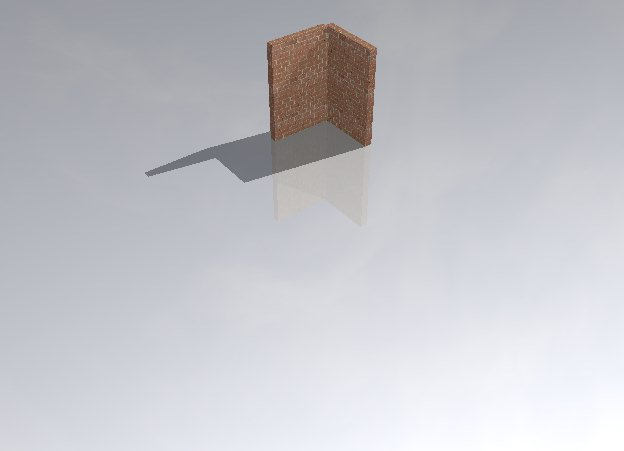 Input text: there is a 5 feet wide first wall. there is a 5 feet wide second wall. It is left of and -0.3 feet behind the first wall. it is facing left.