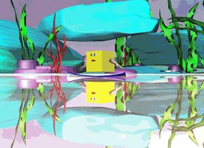 There is a large silver lake. there is a large yellow cube on the lake. there are 2 large eyes in front of the cube. the eyes are 1.5 feet above the lake. there is a large mouth 10 centimeters under the eyes. there is a hand on the left of the yellow cube. the hand is leaning 60 degrees to the left. there is a hand on the right of the yellow cube. the hand is leaning 60 degrees to the right. a boat is under the yellow cube. it is noon.
