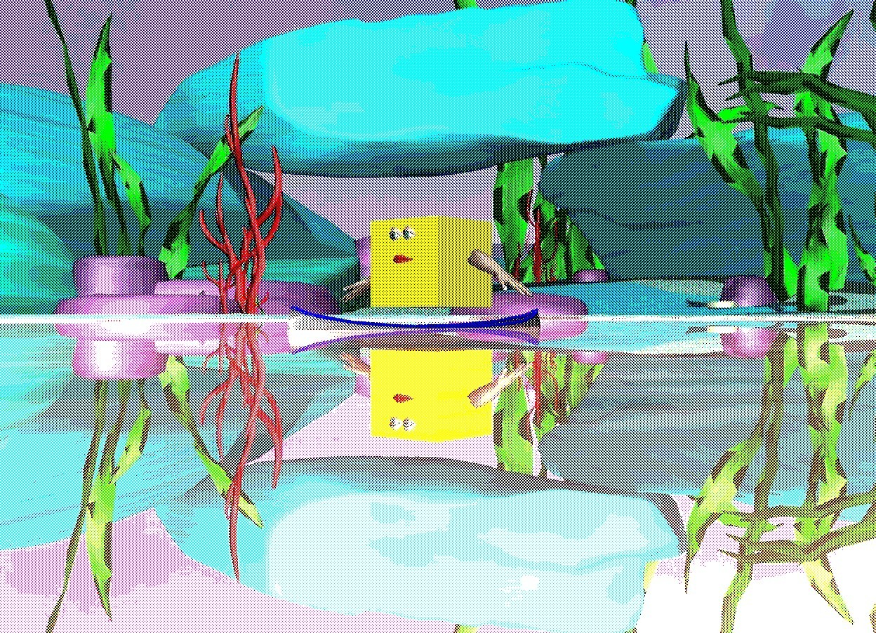 Input text: There is a large silver lake. there is a large yellow cube on the lake. there are 2 large eyes in front of the cube. the eyes are 1.5 feet above the lake. there is a large mouth 10 centimeters under the eyes. there is a hand on the left of the yellow cube. the hand is leaning 60 degrees to the left. there is a hand on the right of the yellow cube. the hand is leaning 60 degrees to the right. a boat is under the yellow cube. it is noon.