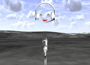 a big microphone. a big headset is 1 foot above the microphone. there is an mouth 2 inches in front of the headset. it is facing backwards. there is an eye 3 inches above and to the right of the mouth. it is facing backwards. there is a second eye 3 inches above and to the left of the mouth. it is facing backwards.