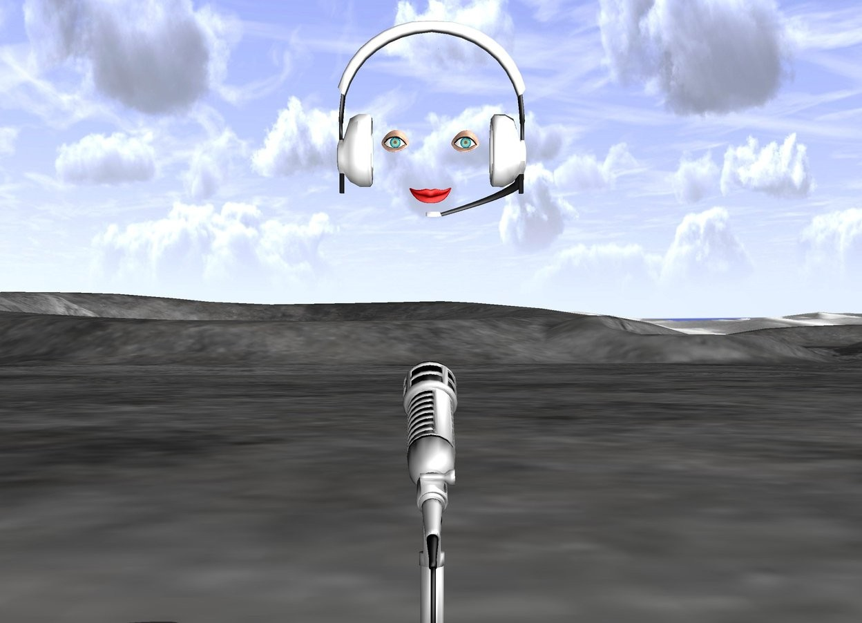 Input text: a big microphone. a big headset is 1 foot above the microphone. there is an mouth 2 inches in front of the headset. it is facing backwards. there is an eye 3 inches above and to the right of the mouth. it is facing backwards. there is a second eye 3 inches above and to the left of the mouth. it is facing backwards.