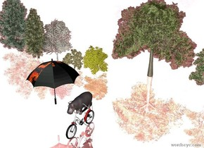 the small hippo is -1.5 feet above the bicycle. the big [texture] umbrella is left of the hippo. the silver ground is water. The umbrella is facing right.  there are 10 tiny trees 10 feet behind the bicycle.