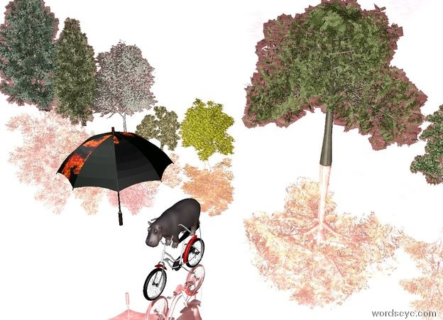 Input text: the small hippo is -1.5 feet above the bicycle. the big [texture] umbrella is left of the hippo. the silver ground is water. The umbrella is facing right.  there are 10 tiny trees 10 feet behind the bicycle.