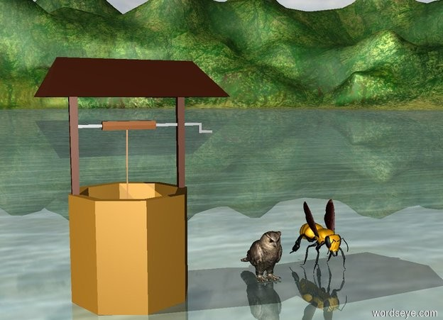Input text: The owl is a foot to the right of the well. The humongous Bee is a foot to the right of the owl.