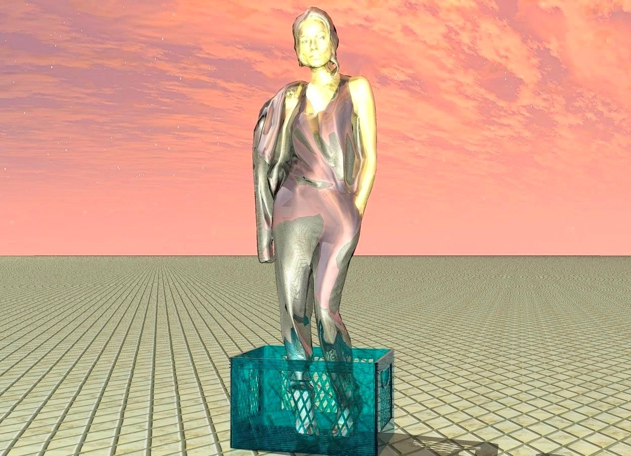 Input text: gold woman inside clear box.  tile ground.