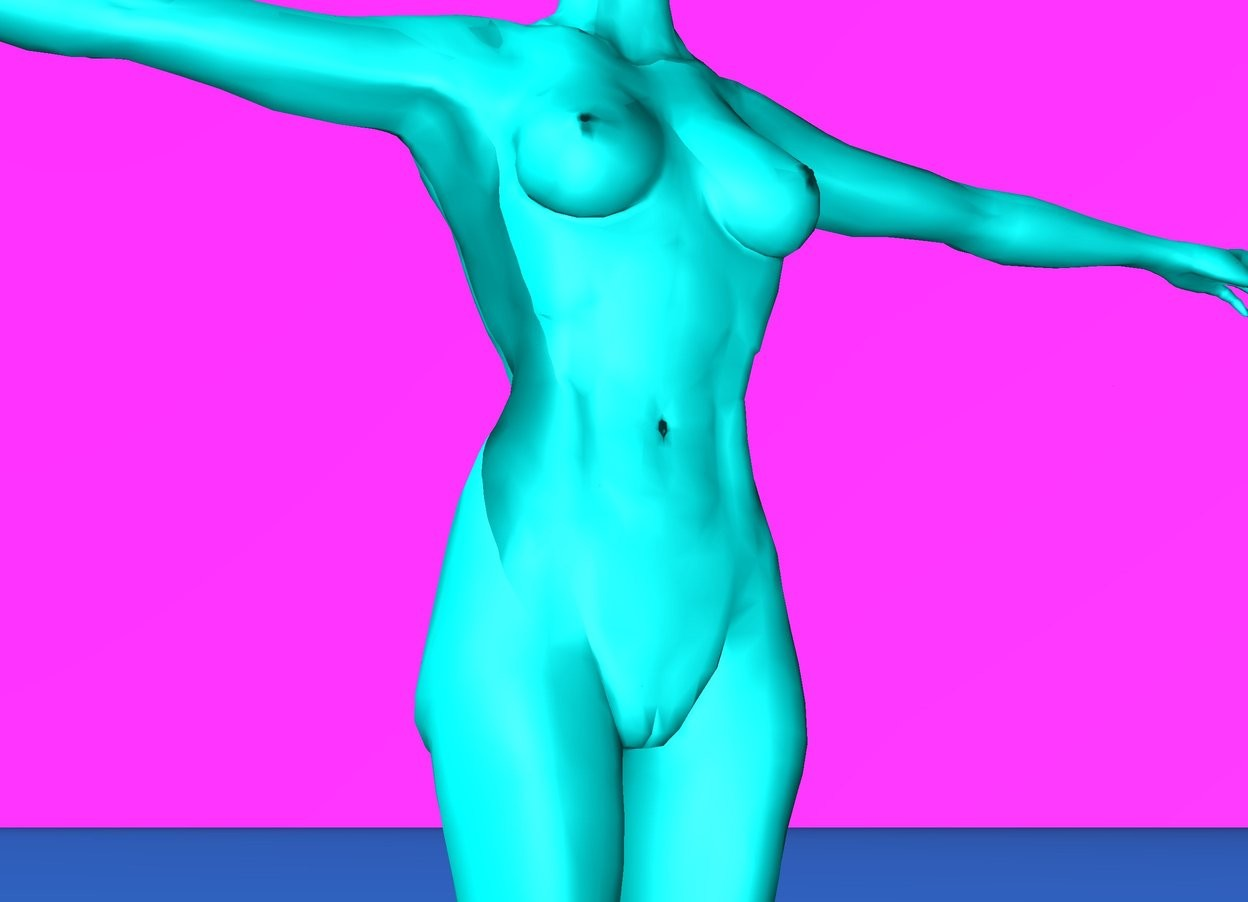 Input text: aqua woman.  magenta sky.  dodger blue ground.