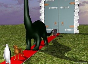 A dinosaur is on a 500 foot long red path.there is a dog in front of the dinosaur. There is a penguin a foot in front of the dog. There is a hippo a foot behind the dinosaur. There is a bird 9 feet behind the hippo. There is a huge door behind the bird. The ground is grass.