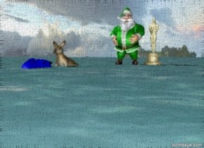 an orange kangaroo is on a blue dragon Next to green santa and a huge oscar in the ocean