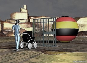 A baby buggy. A  baby is in the baby buggy. A doctor is behind the baby buggy. The sky is dark. A door is 4 feet in front of the baby buggy. A enormous german sphere is 10 feet in front of the door. A yellow light is over the sphere.