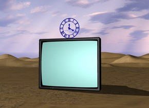There is a huge tv. There is a huge blue translucent clock on the tv.