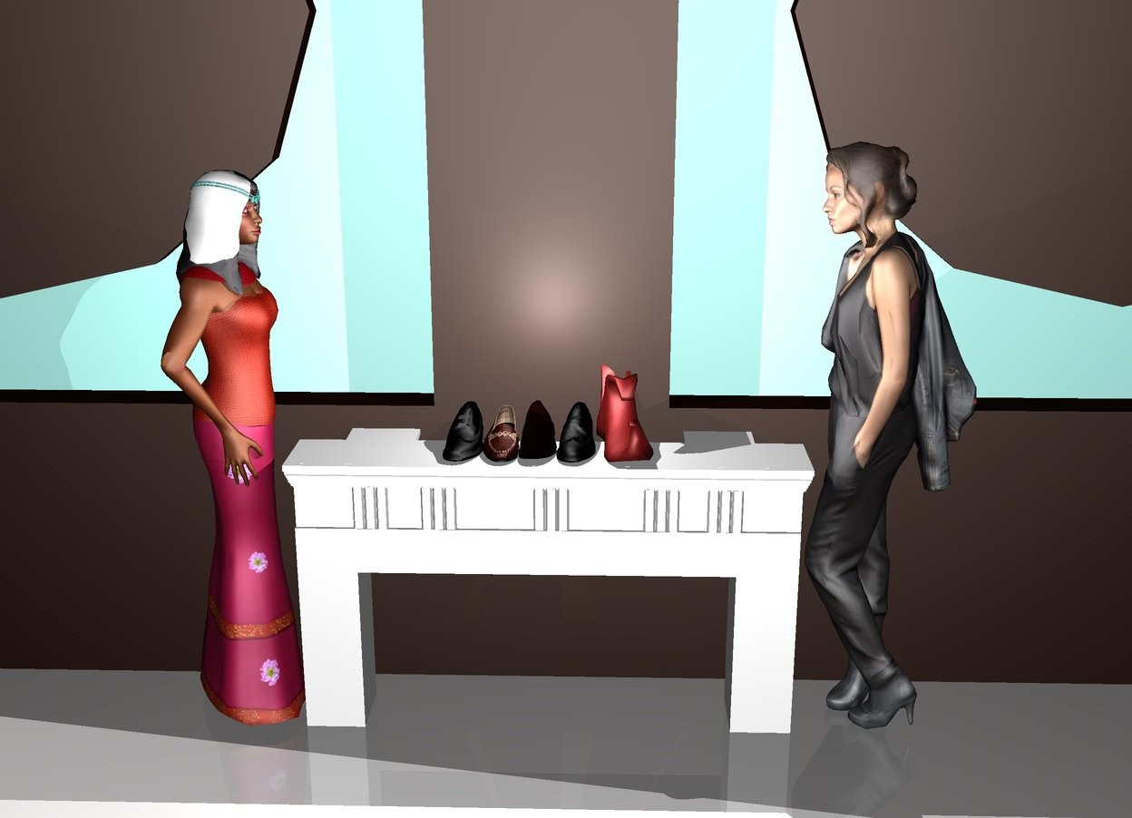 Input text: There are 5 shoes on the shelf. There is a huge door behind the shelf. There is bright light on top of the shoes. There is a woman on the left of the shelf. the woman is facing the shelf. there is a woman on the right of the shelf. The woman is facing the shelf.