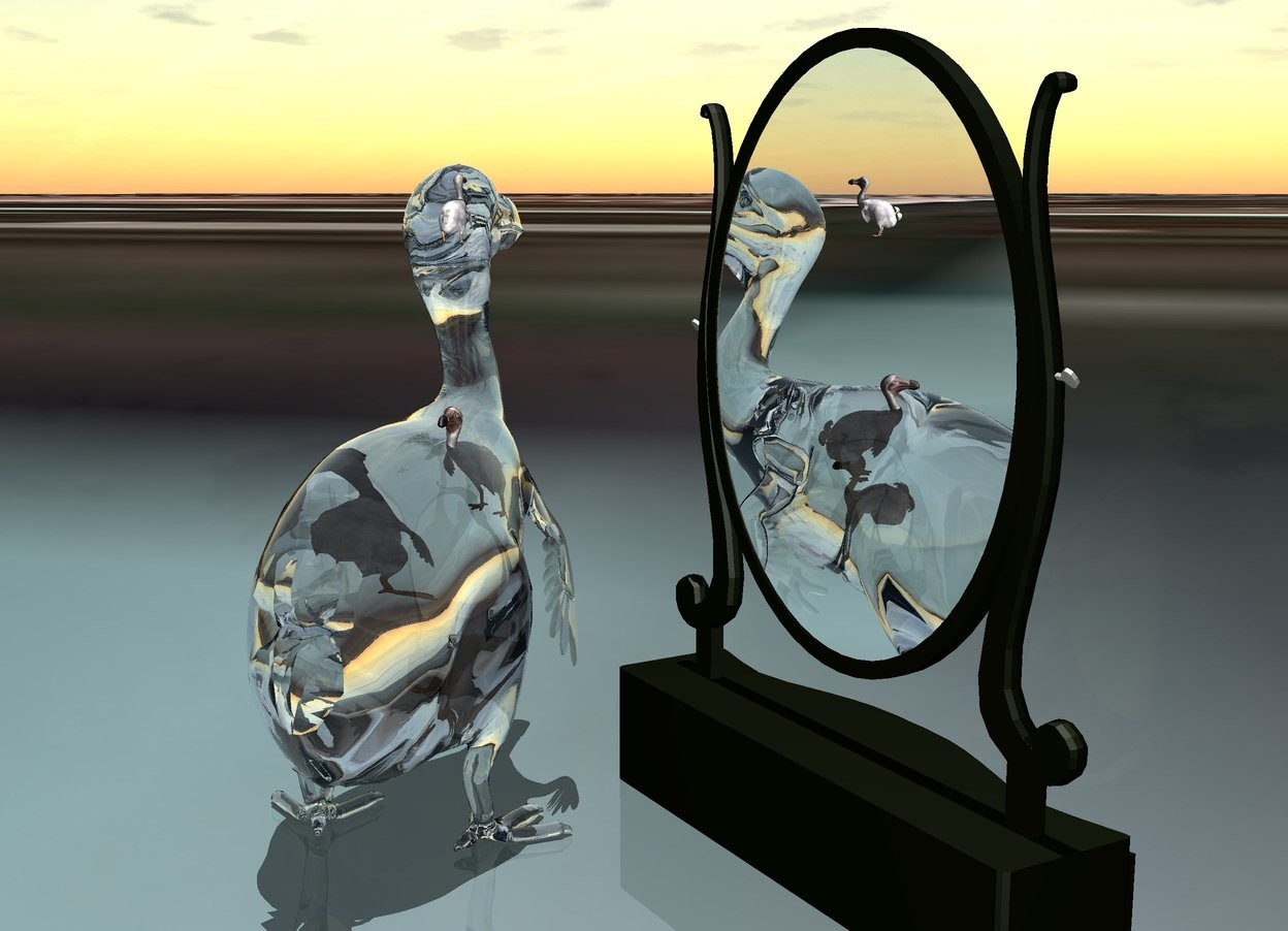 Input text:  a mirror. the mirror is 35 inch tall. a 1st 30 inch tall clear dodo is facing north. the mirror is facing northeast.the 1st dodo is facing the mirror. a 2nd 4 inch tall dodo is 10 inch above the ground and -11 inch to the right of the 1st dodo. the 2nd dodo is facing north.a  3rd 3 inch tall dodo is 26.5 inch above the ground and -6 inch to the right of the 1st dodo. the 3rd dodo is facing north.a 4th 5.5 inch tall dodo is 14 inch above the ground and -6.5 inch to the right of the 1st dodo. the ground is [KAWE5]. it is noon.