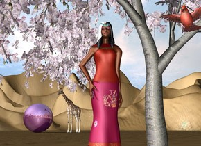the 4 foot tall woman is -6 feet left of the cherry tree.    the very huge shiny purple sphere is 55 feet behind the tree.  the large cardinal is to the right of the woman. it is 3 feet above the ground. it is facing southwest. it is a foot in front of the woman. the sphere is left of the woman.  the 12 foot tall giraffe is right of the sphere. it is facing southwest.    the ground is very tall.