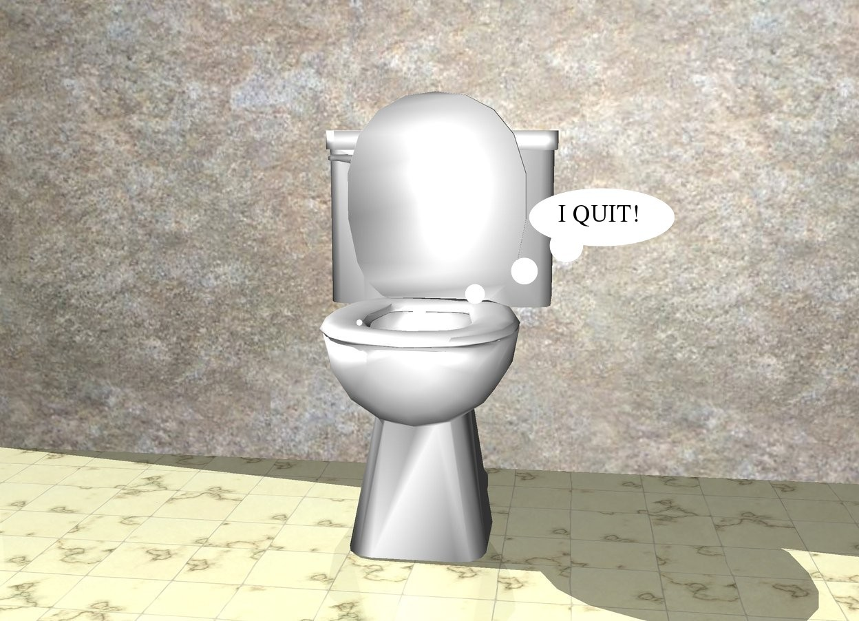 Input text: There is a toilet. the ground is tile.  There is a wall behind the toilet.