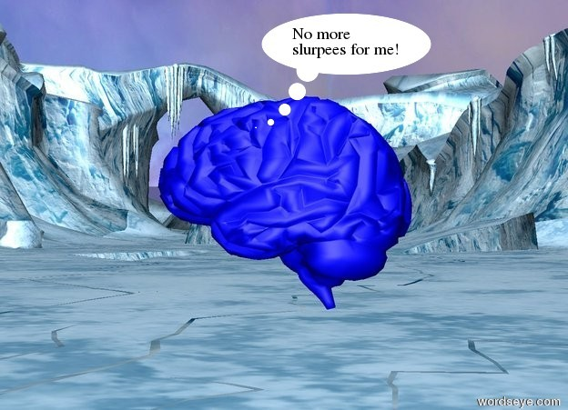 Input text: there is a light blue brain ten feet above the ground. It is noon.