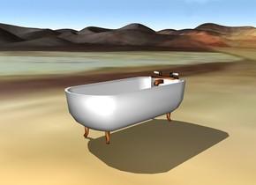 bathtub on a table desert