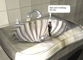 the mouse is 10 inches in the marble sink. it is facing right. the tile wall is behind the sink. the ground is shiny black. the woman is to the right of the mouse. she is facing the mouse. she is 6 inches tall.