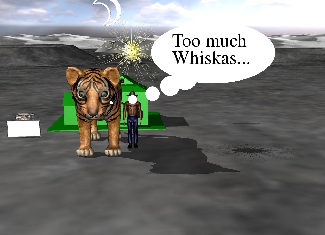 Input text: a small cat stand 1 inch behind a fence. A small man is on the right side of the huge tiger. a star is 1 inch above the man. A tiny green house is 5 inch behind the tiger. a moon 40 inch above the house