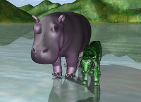 The purple hippo is next to the green tiger.