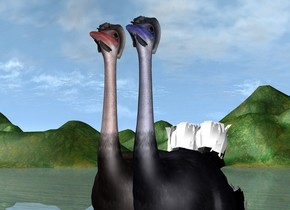 the red ostrich is -2 feet to the left of the blue ostrich.