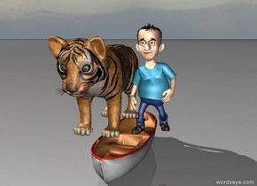 a boy and giant tiger on top of a boat