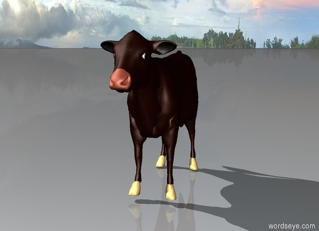 Input text: a cow stands alone