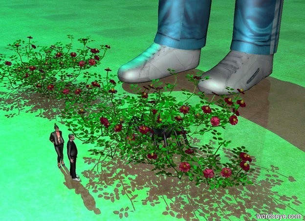 Input text: a 30 feet tall man.a plant is in front of the man.a second plant is in front of the man.a tiny man is in front of the plant.a tiny woman is 6 inches left of the tiny man.the tiny man is facing northeast.the woman is facing the man.the tiny man is texture.a 1 feet tall spider is 2 feet behind the tiny man.the ground is grass.the sun is cyan.a yellow light is beneath the spider.