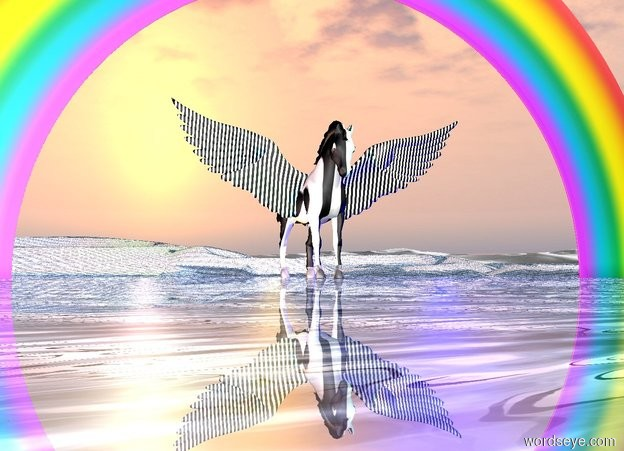 Input text: a striped pegasus is facing north. a tiny rainbow is behind it. blue light is on the left of the pegasus. purple light is above and left of the pegasus. green light is behind the pegasus. pink light is on the right of the pegasus. the ground is shiny water. a bright orange light is on front of the pegasus.