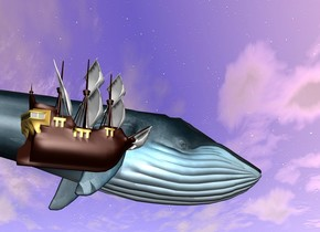 Big Blue whale is 190 feet above the ground. Small ship is 20 feet on left of it.