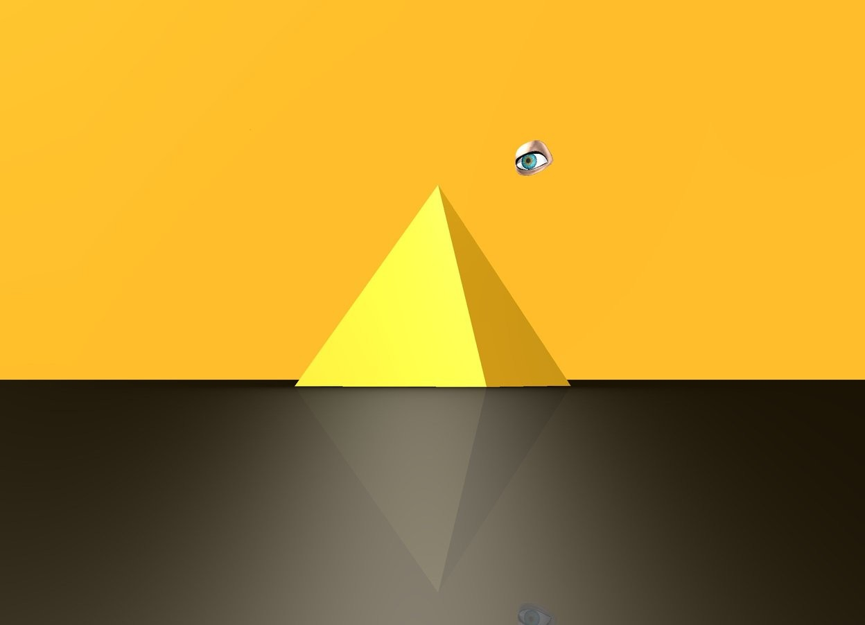 Input text: The pyramid is golden. The pyramid is reflective. The sky is orange. There is a white light above the pyramid. The ground is black. There is an eye above the pyramid.