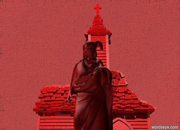 Input text: The sky is red. The ground is silver.   There is a bright red statue.  There is a bright red church 23 feet behind the statue. The church is facing the statue.  The first huge brown light is left of the statue. The second huge brown light is in front of the statue. The camera light is dull black. The second white light is behind and 10 feet above the statue. The ambient light is black. The third black light is to the left of the church. The third black light is 20 feet above the ground.  There is a huge bright white light in front of the church. The bright white light is 20 feet above the ground.  The fourth extremely huge black light is behind the church. The fourth light is 18 feet above the ground.