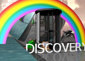 "A computer is in a portal. A tiny rainbow is behind the portal. On the right of the portal is a silver dolphin. Under the dolphin is a gun. A huge green rat is left of the portal. Water is left of the rat. A very huge silver Earth is behind the rainbow. 2.25 feet in front of the portal is white ""DISCOVERY""."