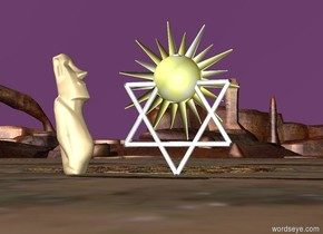 The Purple sky with a Star of David. in the middle of the Star of David is a small sun symbol. There is a tiny statue 6 inches next to the Star of David. The tiny statue is facing the Star of David.