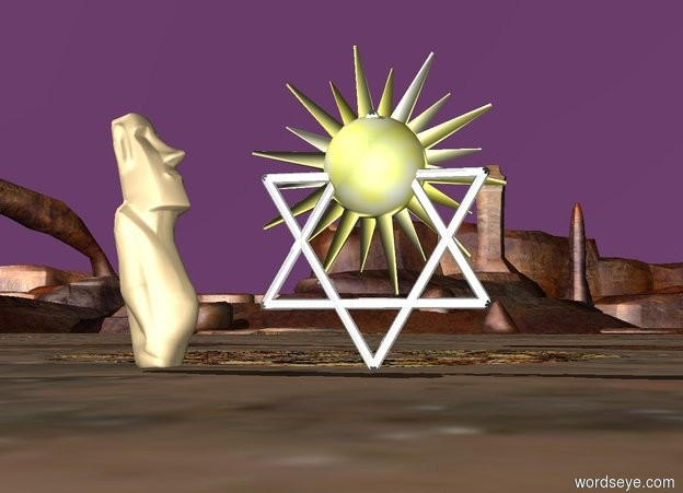 Input text: The Purple sky with a Star of David. in the middle of the Star of David is a small sun symbol. There is a tiny statue 6 inches next to the Star of David. The tiny statue is facing the Star of David.