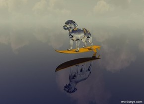 the huge transparent dog is -.4 feet above the orange surfboard.  the transparent ground is blue.